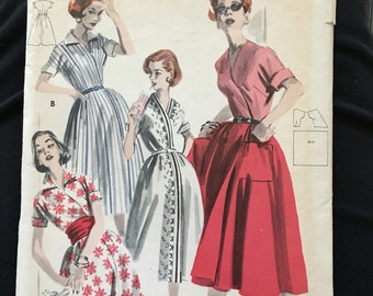 1950s butterick 7995 wrap around dress   In size 14 bust 34 OR size 16  bust 36  OR size 18  bust 38