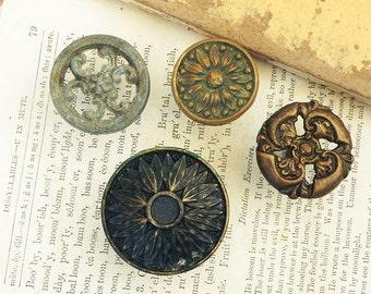 4 Salvaged Old Vintage Drawer Cabinet Knobs Handles Pulls Vintage Hardware DIY Repurpose