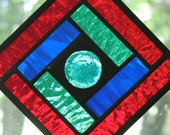 Red Blue Green 4x4 Square Suncatcher