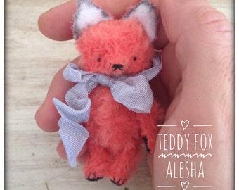 2 inch Artist Handmade Viscose Miniature Pocket Sized Teddy Fox Alesha by Sasha Pokrass
