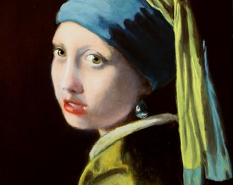 vermeer portrait, girl with a pearl earring, portrait of a girl, realism painting, artwork for sale, old master paintings, portraits in oil