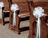 6 Large White Tulle Pull Bows Wedding Pew Decorations Church Chair Aisle Reception Decor
