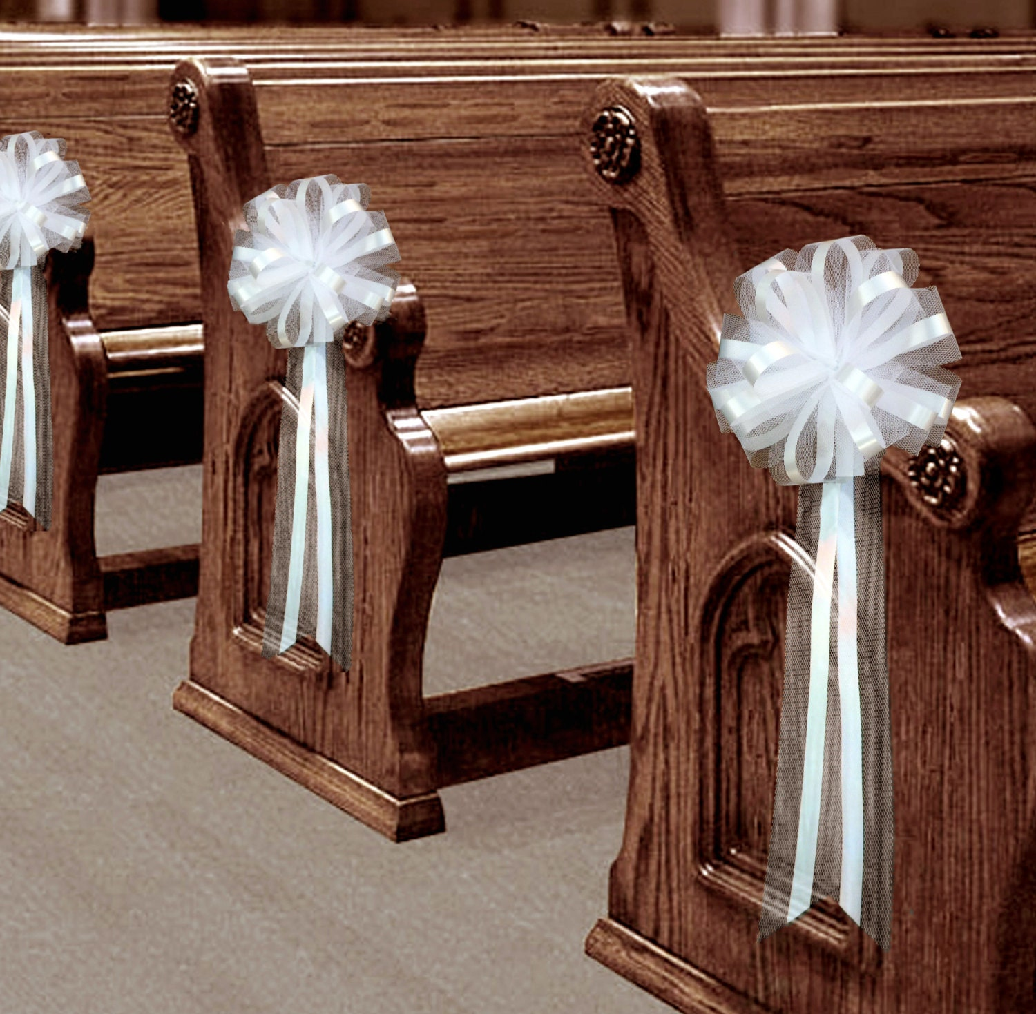 Wedding Pew Decoration Ideas: 6 Large White Tulle Pull Bows Wedding Pew Decorations Church