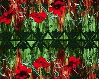 Frond Design Studios Jardiniere Red Poppies fabric by the yard 136FD-0201