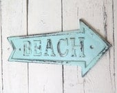RESERVED for JGann-Beach Sign Aqua Wall Decor, Shabby Cottage, Wall Hanging, Beach Arrow Sign, To The Beach, Rustic Sign, Beach Bungalow