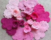 Tickled Pink - Small & Medium 3D Rolled Roses - 24 Die Cut Wool Blend Felt Flowers - Unassembled Rosettes