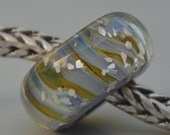 Solid Core Option - SALE - Handmade Lampwork Glass European Charm Bead with Silver Glass - Fits all charm bracelets