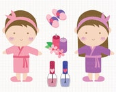 Spa and Slumber Party Digital CLIP ARTS personal and commercial use for invitations, cupcake toppers, birthday cards, party supplies