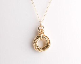 10 Ring Byzantine Love Knot Infinity Necklace - 14k Gold Filled