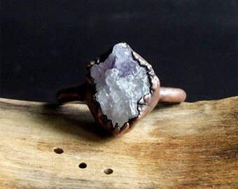 Druzy Amethyst Ring Rough Stone Jewelry Raw Crystal Natural Geode Copper Crystal Gemstone Raw Gemstone Ring Size 8.5