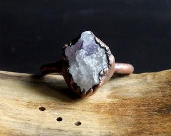 Druzy Amethyst Ring Rough Stone Jewelry Raw Crystal Natural Geode Copper Crystal Gemstone Raw Gemstone Ring Size 8.5