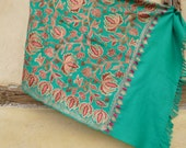 "Superb Sea Green Embroidered Pashmina. Luxurious wool shawl/stole. 74 x 28"". Kashmir. 188 x 71 cm"