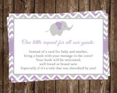 Elephant, Bring a Book Inserts, Baby Showers, Girl, Purple, Gray, Chevron Stripe, Lavender, Squirt, 24 PRINTED Cards, FREE Shipping, Request