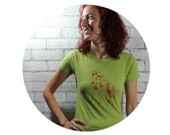 Women's Dog Tshirt, Italian Greyhound Cotton Crewneck Tee Shirt  in Bright Apple, Grey hound, Short Sleeved, Hand Printed Screenprint
