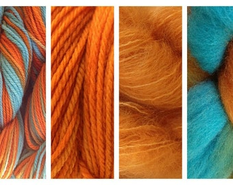 Hand Dyed Samples of Merino Wool DK Sport Weight Yarn in Hopi Land