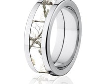 Licensed RealTree AP White Camouflage Titanium Ring, Snow Camo Ring: 8F-RT-Snow