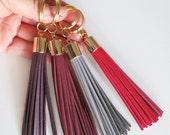 Womens Gift,Leather Tassel Key Ring,Purse charm,Tassel Fringe Key Chain,Holiday gift idea,Tassel Keychain,Red Tassel keyring,Wine accessory