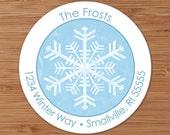 Shabby Snowflake - CUSTOM Christmas Address Labels or Stickers