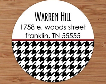 Houndstooth Plaid - Custom Personalized Address Labels or Stickers