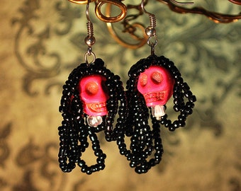 Skull Day of the Dead Earrings in Hot Pink for Dia de los Muertos Rasta Dreadlock Halloween Dangle Zombie Skeleton Gothic Costume