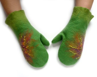 Felted wool gloves Mittens_green gloves mittens_Women mittens_Women felted gloves_Felted warm mittens_Felted warm accessories_CHRISTMAS GIFT