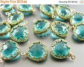 15% OFF 2 sea green fancy lace rim framed glass pendants, jewelry making supplies / crystal glass charms 5045G-SG (bright gold, sea green, 2