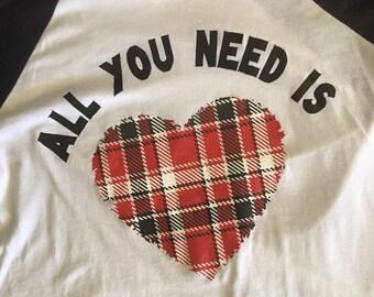Plaid vinyl heart 3/4 sleeve t shirt