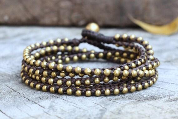 Dark Brown Brass Hip Double Wrap Bracelet