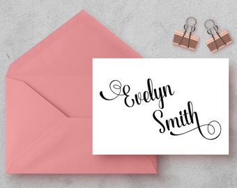 Personalized - ELEGANT NAME - Note Cards - Personalized Stationery - Stationery Set - Wedding Stationery - Family - Engagement Announcement