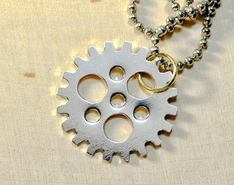 Sterling silver bicycle sprocket necklace handmade for the passionate cyclist - NL716