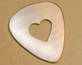 Custom Aluminum Guitar Pick with Heart Cut Out and Space for Personalized Messages of Love - GP1071