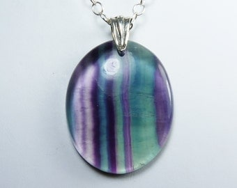 Large Fluorite Necklace, Large Translucent Fluorite Pendant, Rich Purple, Green, and Teal Stripes, Luxurious Sterling Silver Chain