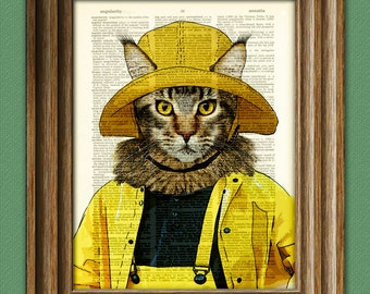 Maine Coon cat hunts for lobstah in the yellow raincoat illustration beautifully upcycled dictionary page book art print