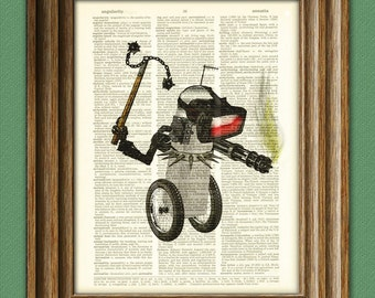 The War Bot 1999  Retro ROBOT geeky upcycled vintage dictionary page book art print