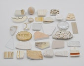 Broken China Mosaic Tiles - Beige - Assortment - Cabochon Collection - Set of 30