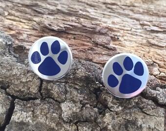 University of Kentucky Wildcat Post Earrings,  Blue Cat Paw Post Earrings, Kentucky Wildcat Earrings, university of Kentucky Jewelry