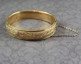 Vintage Hayward Etched 10K Gold Filled Hinged Bangle Bracelet