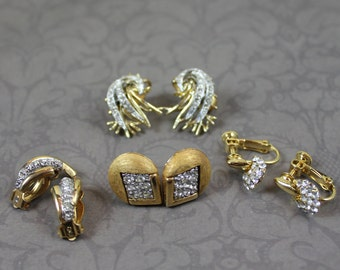 Lot of 4 Pairs of Vintage Rhinestone Silver and Gold Toned Clip on Earrings