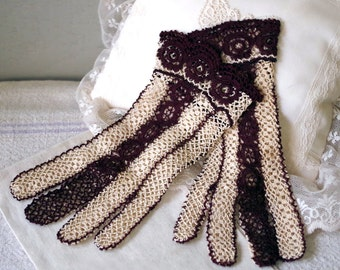 Victorian 2 Tone Crochet Lace Gloves - Edwardian Steampunk Crochet Gloves - Vintage Burgundy & Cream Crochet Gloves
