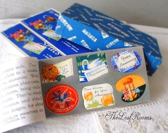 ANNIVERSARY Stickers - Gummed Eureka Seals Booklet - Decals - 1950s Holiday Stickers