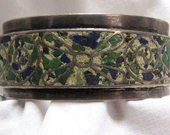 Solid Sterling Silver Mixed Green Stone Mosaic Mid Century Mexican Vintage Bracelet