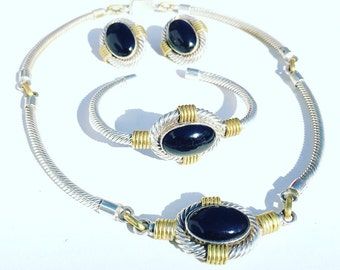 Beautiful Sterling Silver Cable Brass Black Onyx Vintage Modernist Mexican Necklace