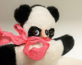 Handmade Black and White Miniature Panda Bear Blythe Doll Companion Retro Carnival Style