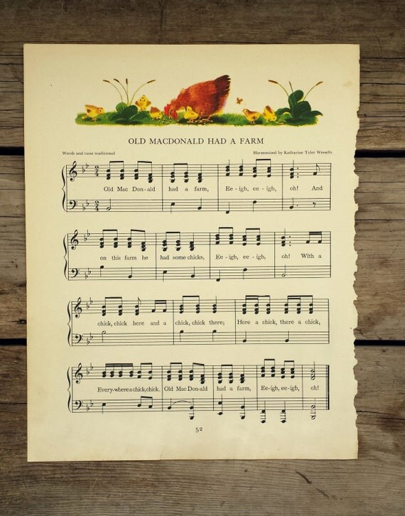 Old MacDonald Had A Farm. Vintage Nursery Rhyme Sheet Music for Display or Frame 1945 Illustrated Music Page. Classic Childrens Song