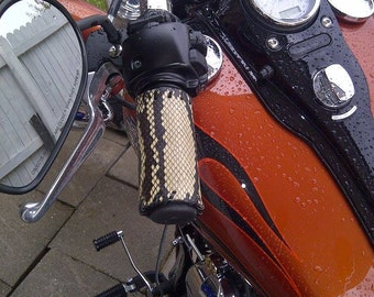 Motorcycle Grips in your Choice of Snake Skin Cobra, Rock Python, or Rattlesnake