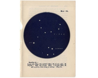 1948 VIRGO CONSTELLATION STARS lithograph - mini constellation map - original vintage print - celestial astronomy - no 18
