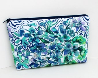 Make Up Bag, Cosmetic Zipper Pouch, Wildflower Watercolors