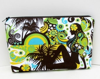 Cosmetic Bag. Make Up Zipper Pouch, Island Girls, Hawaiian Tropical Bag
