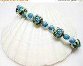 SALE Blue Rose Bracelet - Blue Bracelet - Gemstone Bracelet - Matching Earrings Available - Gift for Her - Womens Bracelet - Unique Jewelry