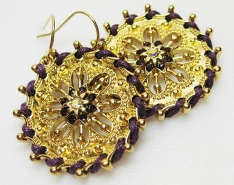 RESERVED for Melodie Purple and Gold Earrings - Womens Earrings - Amethyst Earrings - Fashion Jewelry - Statement Earrings - Gold Earrings